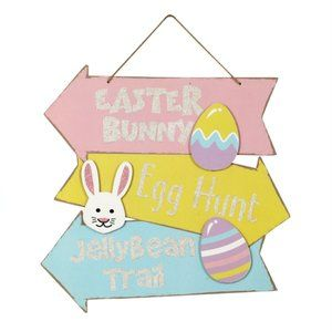 Easter Directional Arrow Wall Sign Bunny Wood